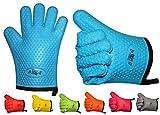 2er Set BBeeQ® Küchenhandschuhe Silikon und Baumwolle - hitzebeständig bis 300°C - zum Grillen, Kochen, Backen - Topfhandschuhe, Grillhandschuhe - Blau
