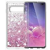 MASCHERI Cover per Samsung Galaxy S10 Plus / S10+, Sottile 3D Bling Glitter Liquido Brillantini Lucido Cuore Carino Scintillante Cristallo Silicone Custodia per S10 Plus / S10+ - Oro Rosa