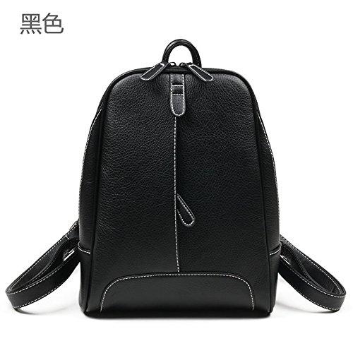 Syknb Rucksack Tasche Lässig Tasche Leder Schulter Black