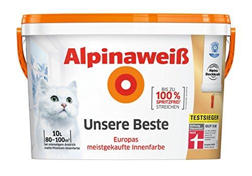 10 Liter Alpinaweiß Unsere Beste - weiße Innenfarbe Matt, spritzfrei, beste Deckkraft