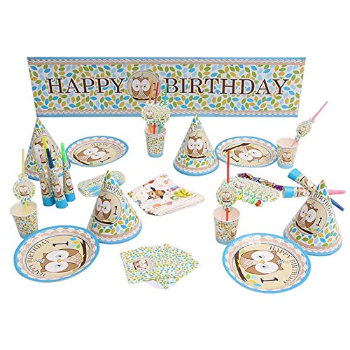RemeeHi Prinzessin Party Supplies Geburtstag Party 6Kids Baby Dusche Party Deko Luxus Kinder Geburtstag Dekoration, Eule, for 6 People