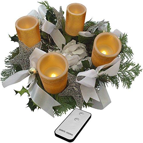 55068 4-er Set, gold Flammenlose LED Adventskerzen mit FB