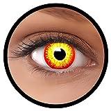 FXEYEZ® Farbige ES Kontaktlinsen rot gelb Horror Clown + Linsenbehälter, weich, ohne Stärke als 2er Pack - angenehm zu tragen und perfekt zu Halloween, Karneval, Fasching oder Fasnacht