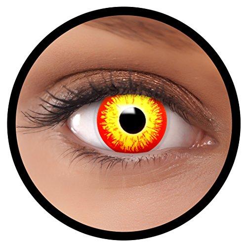 (FXEYEZ® Farbige ES Kontaktlinsen rot gelb Horror Clown + Linsenbehälter, weich, ohne Stärke als 2er Pack - angenehm zu tragen und perfekt zu Halloween, Karneval, Fasching oder Fasnacht)