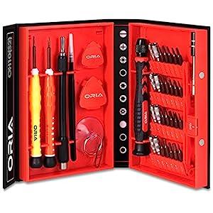 Oria Schraubendreher Set Magnetic Austauschbar Magnetverschluss Hardware Schraubendrehersatz Reparatur Werkzeug Kit für iPad, iPhone, Tablets, Laptops, PC, Brillen&Andere Geräte etc.(38 in 1)