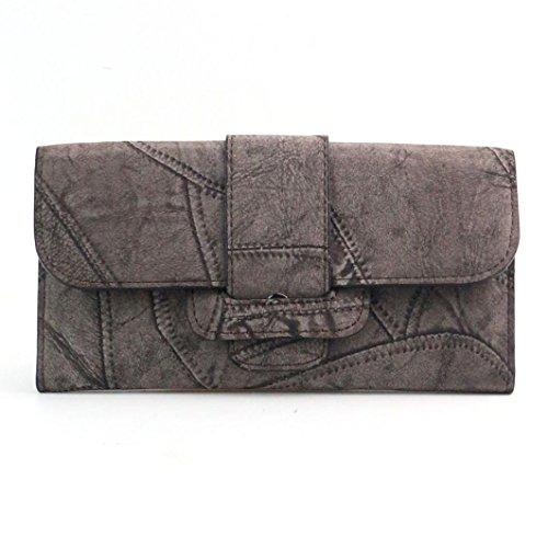 Koly_Frizione delle donne Retro borsa lunga Portafoglio Grigio