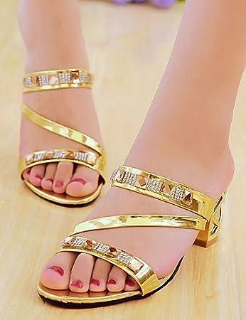 ShangYi Women's Shoes Chunky Heel Open Toe Slippers Dress Silver/Gold , golden-us5.5 / eu36 / uk3.5 / cn35 , golden-us5.5 / eu36 / uk3.5 / cn35