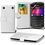 ( White ) Blackberry Curve 9360 Leather Wallet Flip Case Skin Cover With Screen Protector Guard By i-Tronixs