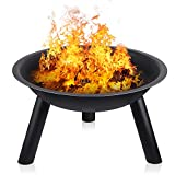 INTEY Large Fire Pit with Black Iron Folding Outdoor Garden Patio Heater Fire Bowl Beach Fire Pot with 58cm Diameter Heater Grill Camping Bowl BBQ Burner for Wood & Charcoal for Forest Adventure