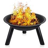 INTEY Feuerstelle aus Eisen,Feuerschale in Garten Feuerkorb, zusammenklappbar, für den Außenbereich und Terrasse, für Camping und Grill, für Holz und Kohle -