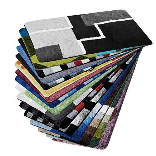 Design Badematte | Rutschfester Badvorleger | viele Größen | zum Set kombinierbar | Öko-Tex 100 Zertifiziert | viele Muster zur Auswahl | Quadrate - Schwarz (95 cm rund)
