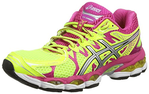 51 Ami3JJ8L BEST BUY #1ASICS Gel Nimbus 16, Womens Running Shoes, Yellow (Flash Yellow/Silver/Hot Pink 793) 4 UK