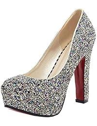 Coolulu Mujer Zapatos de Tacón Alto Plataforma Cerrado de Salon con  Brillantes Fiesta Boda para Novia 658462a0c54f