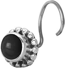 Abhooshan Precious Stone Black Onyx Small Nose Pin/Stud with wire in 92.5 Sterling Silver For Women and Girls. Piercing required