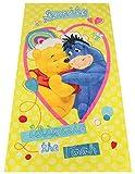 Winnie the Pooh Smile Handtuch, Strandtuch, Motivhandtuch für Kinder, 70 x 140 cm, 100% Baumwolle