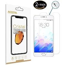 Meizu M3 Note Protector cristal templado - RE3O® 2 x Protector de pantalla cristal templado vidrio templado para Meizu M3 Note 5,5'' pulgadas, Borde redondo elegante 2,5D, Fácil de instalar y sin burbujas de aire, Dureza 9H Anti-choque y Resistencia al desgaste a prueba de rasguños, Alta transparencia, Efecto anti-huella digital perfecto