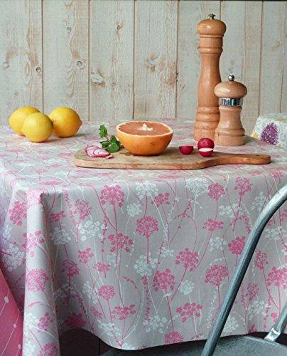 Fleur de Soleil N240EHEFGR Nappe rectangulaire anti-tache imperméable Tissu/Coupe franche Herbe/Gris/Rose 240 x 160 x 0,2 cm
