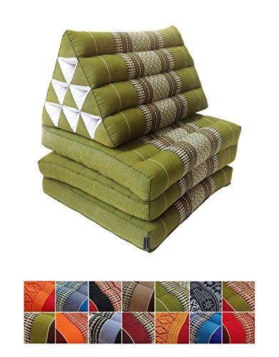 Materasso tradizionale Thai di kapok in 3 strati, con cuscino reclinabile triangolare in stile orientale, per yoga, massaggi o relax Green