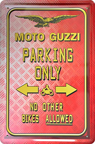 Deko – Rótulo Park (Moto Guzzi Parking Only 20 x 30 cm Diseño Retro metal Sign xps16do