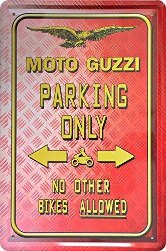 Deko–Rótulo Park (Moto Guzzi Parking Only 20x 30cm Diseño Retro metal Sign xps16do