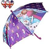 Disney Frozen parapluies- Anna, Elsa y Olaf. (púrpura y azul)