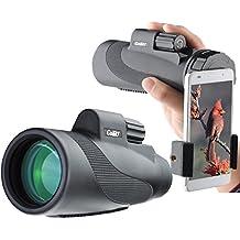 Gosky Telescopio Monocular 12x 50 impermeable de alta potencia Prism Monocular y Kit de adaptador de Smartphone rápido - impermeable a prueba de niebla a prueba de golpes alcance-bak4 prisma fmc para la observación de aves caza camping viajar fauna secenery