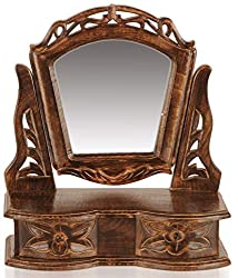 Gift Item Wooden Hand Carved Mini Dressing Mirror Cabinet with 2 Drawers (13 x 6 x 15 Inches)