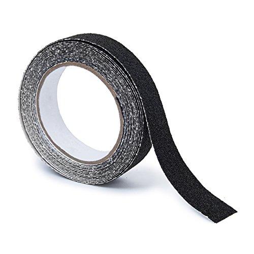 Relaxdays Anti-Rutsch-Klebeband 25 mm Rolle mit 5 m Grip Tape als Antirutschbelag für rutschfeste Treppenstufen im Innen- und Außenbereich, schwarz (Treppenstufen Streifen)