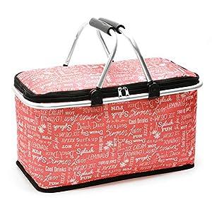 Picknickkorb, Lunchbox, isolierte Lunchtasche, große Kühltasche, 29 l, faltbar, isolierte Lunchtasche, Einkaufskorb für…