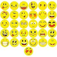 ECENCE 48x Goma de borrar con Emoji Goma de borrar con Smiley Sonrisa Detalle para cumpleaños Infantil 11030202