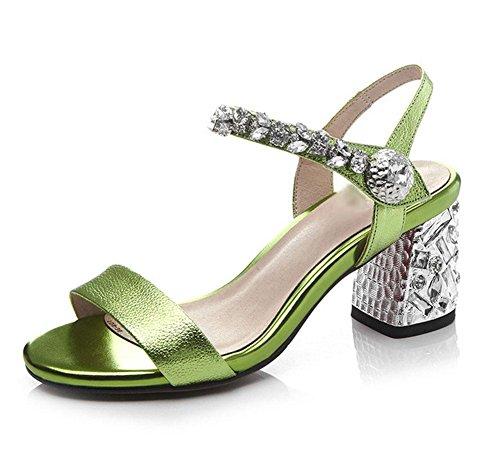 Offene Sandalen Frauen Schuhe mit Strass Wort Green