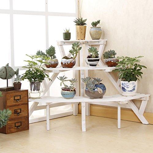 FZN Bûches Préservation de l'environnement Style Pastoral Sol en Bois Massif Escaliers Succulentes Fleur Pots de Fleurs (Couleur : B, Taille : 60 cm)