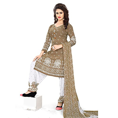 Salwar Studio Women\'s Bronze & White Synthetic Printed Dress Material with Dupatta-POOJA-08