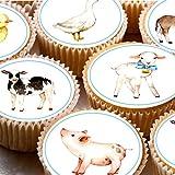 24Kuchen Topper 4cm auf Zuckerguss Cupcake Bilder–Aquarell Farm Tiere Kuh Blatt Pig niedliches 1. Geburtstag Neues Baby