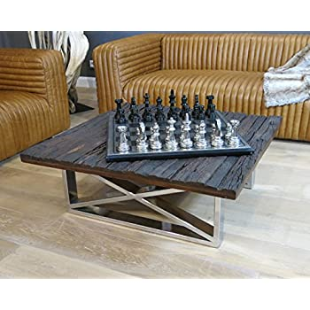 Vintage Wohnzimmertisch Couchtisch Tisch Schwemmholz Treibholz Möbel Maison  Chrom Deko (100x37x100cm)