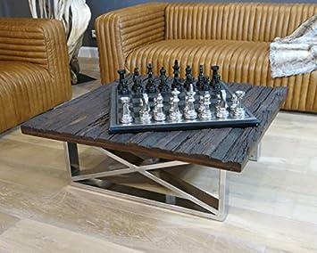 Vintage Wohnzimmertisch Couchtisch Tisch Schwemmholz Treibholz Mbel Maison Chrom Deko 100x37x100cm Amazonde Kche Haushalt