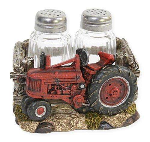Red Tractor 3 Piece Salt & Pepper Shaker Set by Slifka Sales Co.