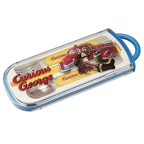 Jorge el curioso camión de bomberos portátil juego de cubiertos cuchara y tenedor y palillos (importación de Japón)