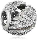 Pandora Damen-Bead Schimmernde Phoenixfeder 925 Silber Zirkonia transparent - 791749CZ