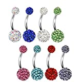 Lot 8 Piercings Nombril ALEXANDRIE Cristal De Swarovski
