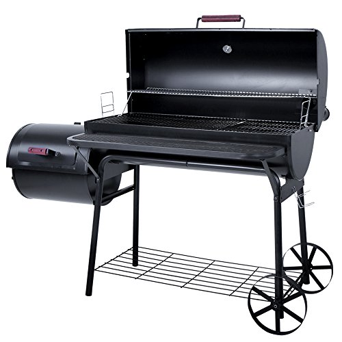 broil-master-BBQ-Grill-Smoker-Grillwagen-Holzkohlegrill-mit-2-Kammern-inkl-5-Roste