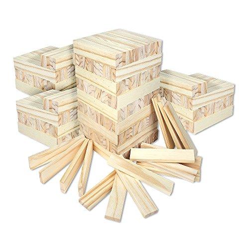 Holzbausteine für Kinder Holzklötzer Holz Klötzer Bausteine Puzzle Baustein Holzbaustein Holzbaukasten 300er Pack ()