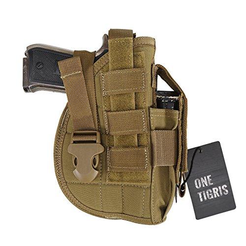 OneTigris Taktische Molle Pistolenholster mit Magazintasche für Rechtsschützen (Khaki)