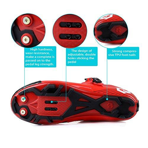 WIN Herren Atmungsaktive Freizeit Carbon Fahrrad Schuhe mit Nylon-Sohle oder Tpu-Sohle für Road und MTB. - Red for MTB