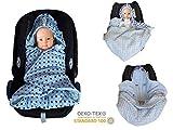 SWADDYL Baby Einschlagdecke für Maxi-cosi, Babyschale, Autositz, Fußsack für Kinderwagen, Buggy, Babybett aus Minky / Baumwolle Design (blue)
