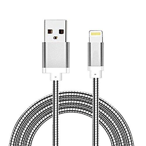 Myfei câble micro USB, durable, 1m USB 2.0chargeur rapide de données Printemps câble pour iPhone et Android à ressort en métal des lignes de chargement pour iPhone 7/7Plus/6/6S/6Plus/6s Plus, iPhone 5/5S/5C, iPad, iPod