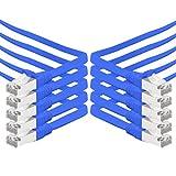 Câble réseau Cat. 7Gigabit Ethernet LAN bande Plate Nappe (RJ45) rohkabel (10gbit/S) Câble de pose Plat slim compatible avec les Cat. 5–Cat. 5e–Cat. 6 0.5m Bleu - Lot de 10