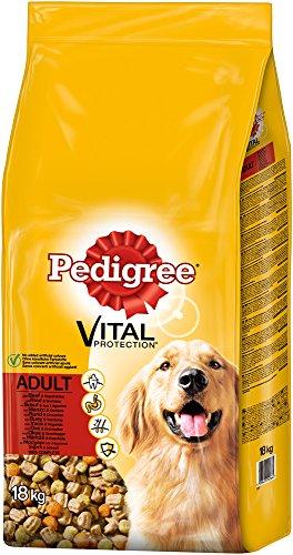 Pedigree Hundefutter Trockenfutter mit Rind und Gemüse für ausgewachsene Hunde, 1 Beutel (1 x 18 kg)