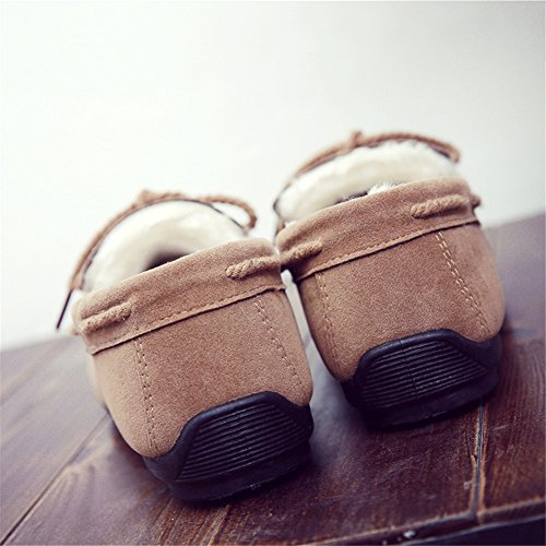 Paragon Mocassins pour Homme Confort Cuir Chaussures de Conduite Fourrées Plates Chaussures de Ville Loafers 04 Khaki-Chaud fourrure
