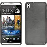 PhoneNatic Case kompatibel mit HTC Desire 816 - Silber Silikon Hülle Brushed + 2 Schutzfolien